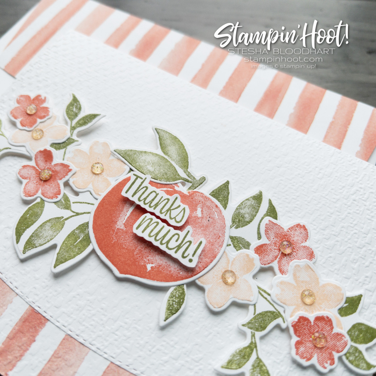 You're a Peach Suite Collection from Stampin' Up! Thanks Much Card by Stesha Bloodhart, Stampin' Hoot! Close Up Peaches