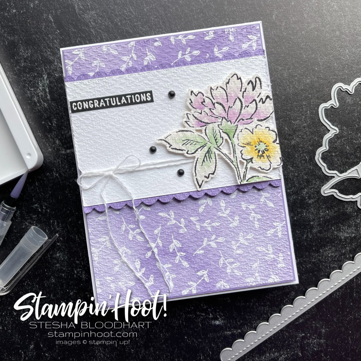 Congratulations card using the Hand-Penned Suite Card by Stesha Bloodhart, Stampin' Hoot!