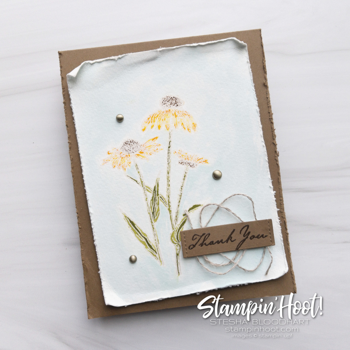 Nature's Harvest Stamp Set from Stampin' Up! Available August 3, 2021. Thank you card by Stesha Bloodhart Stampin' Hoot!
