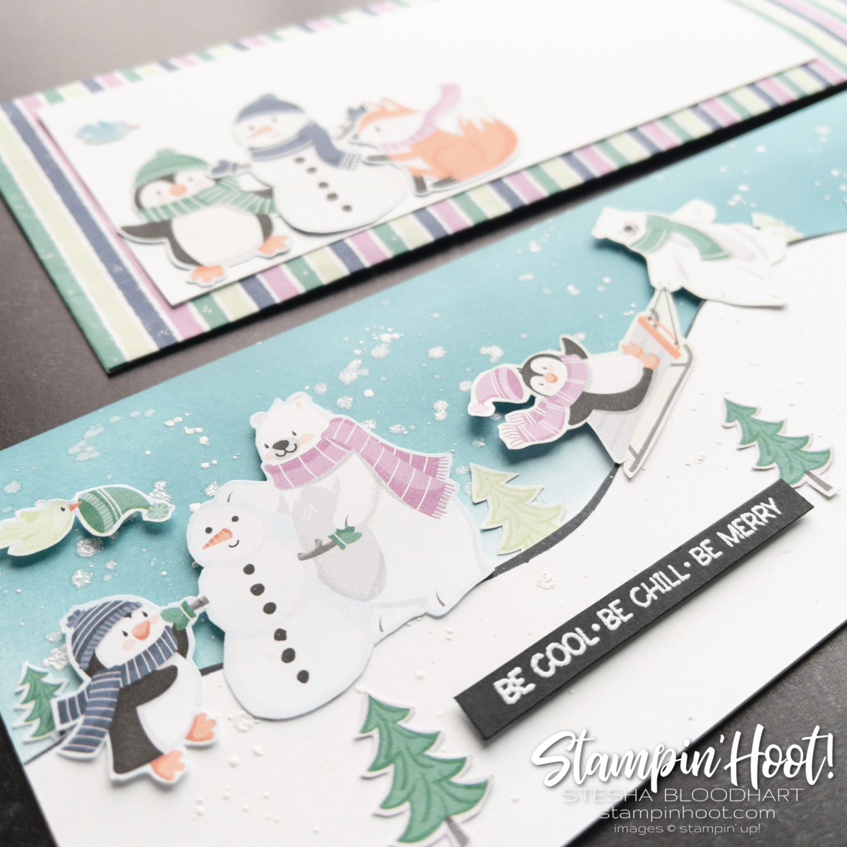 #tgifc326 Decorated Envelopes Challenge Card Slimline Card and Envelope by Stesha Bloodhart, Stampin' Hoot! Slant View