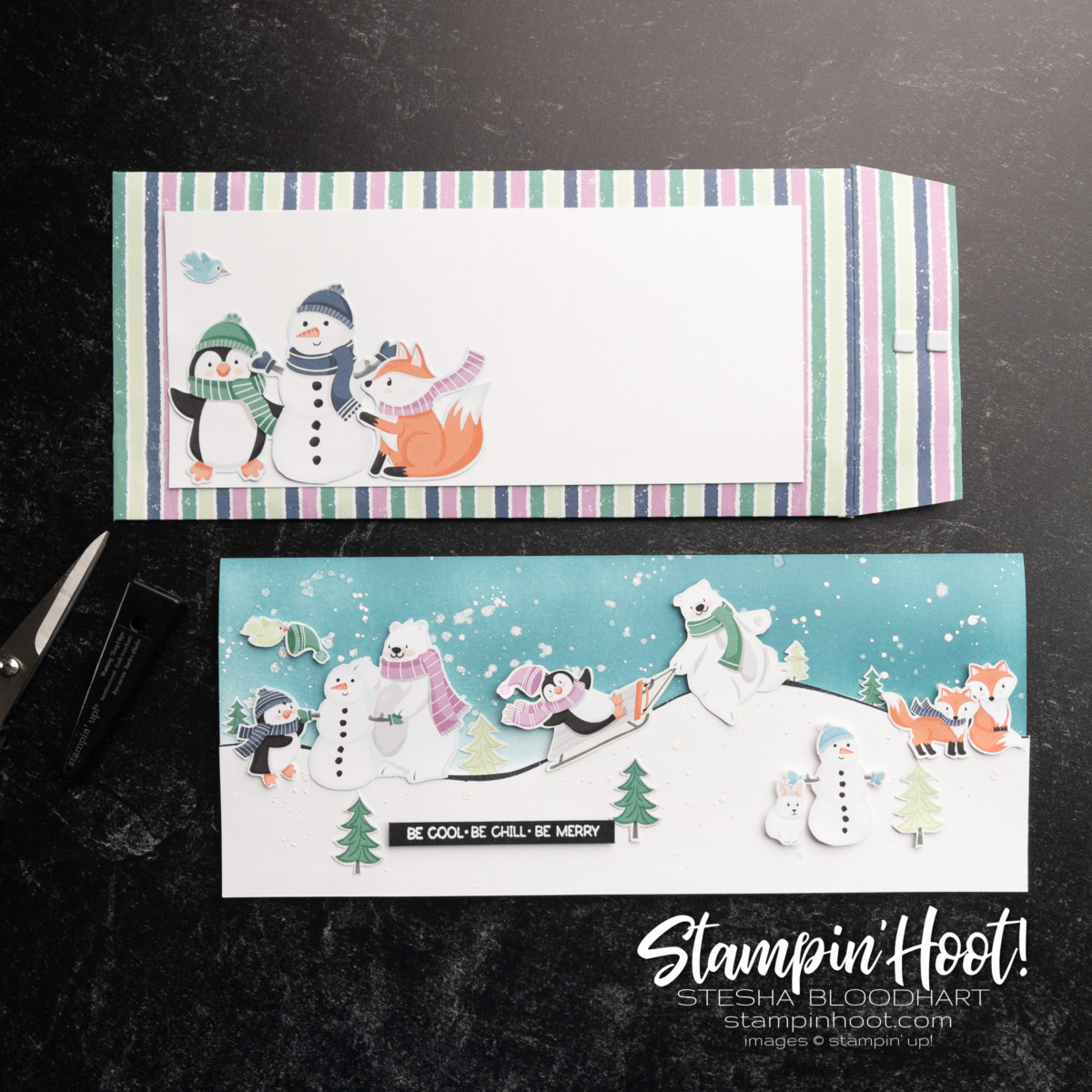 #tgifc326 Decorated Envelopes Challenge Card Slimline Card and Envelope by Stesha Bloodhart, Stampin' Hoot!