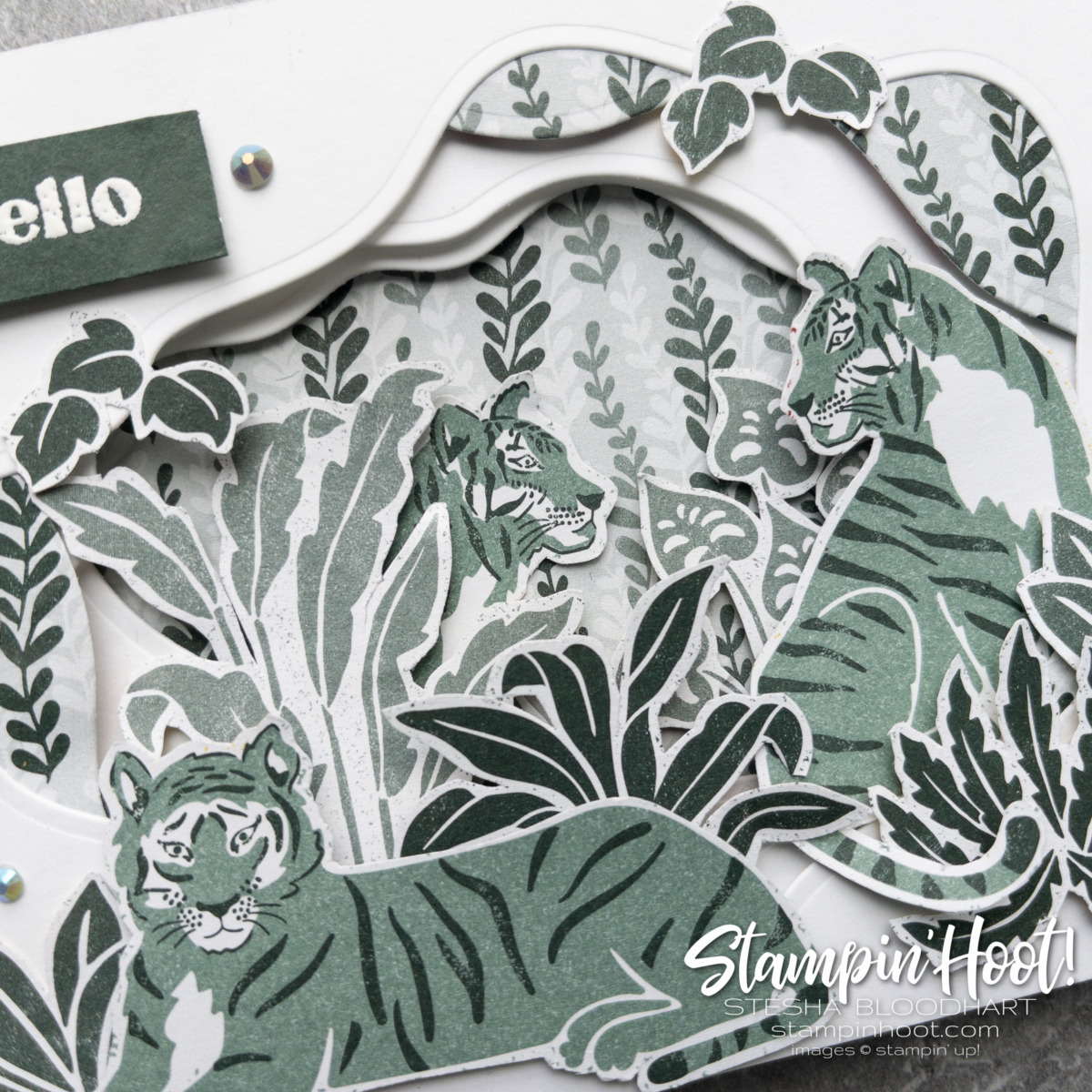 Close up of snipped images from the In the Wild Designer Series Paper - Hello Card by Stesha Bloodhart