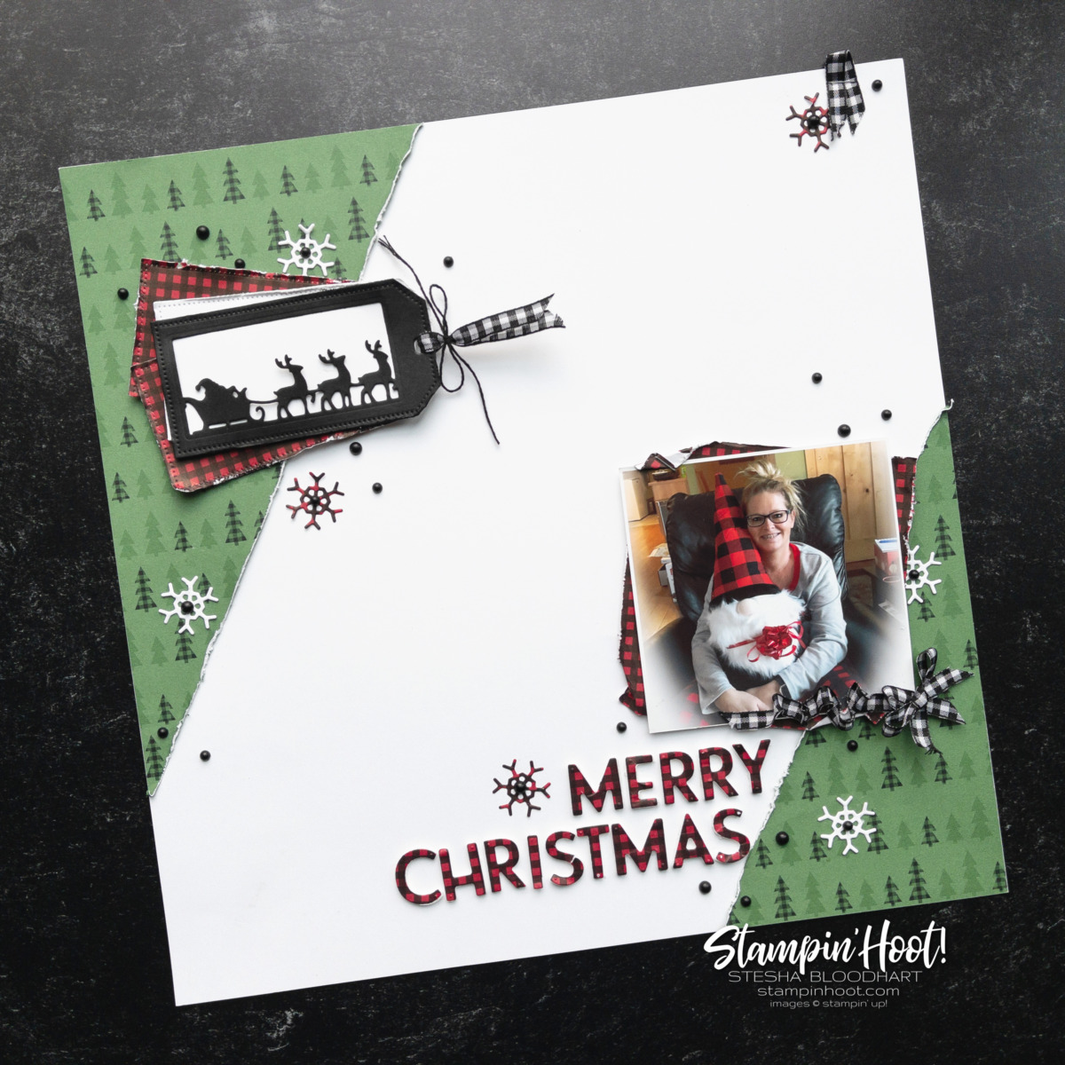 Create this Christmas Themed Scrapbook Page with Stampin' Up! Gift Giving Dies & Peaceful Prints FREE DSP. Page by Stesha Bloodhart, Stampin' Hoot!