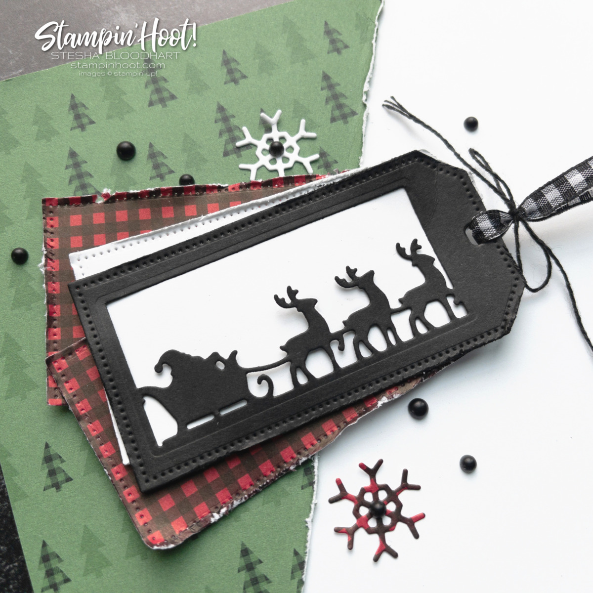Create this Christmas Themed Scrapbook Page with Stampin' Up! Gift Giving Dies & Peaceful Prints FREE SALE-A-BRATION DSP. Page by Stesha Bloodhart, Stampin' Hoot!