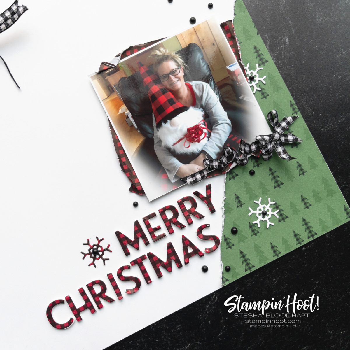 Create this Christmas Themed Scrapbook Page with Stampin' Up! Playful Alphabet Dies & Peaceful Prints FREE DSP. Page by Stesha Bloodhart, Stampin' Hoot!
