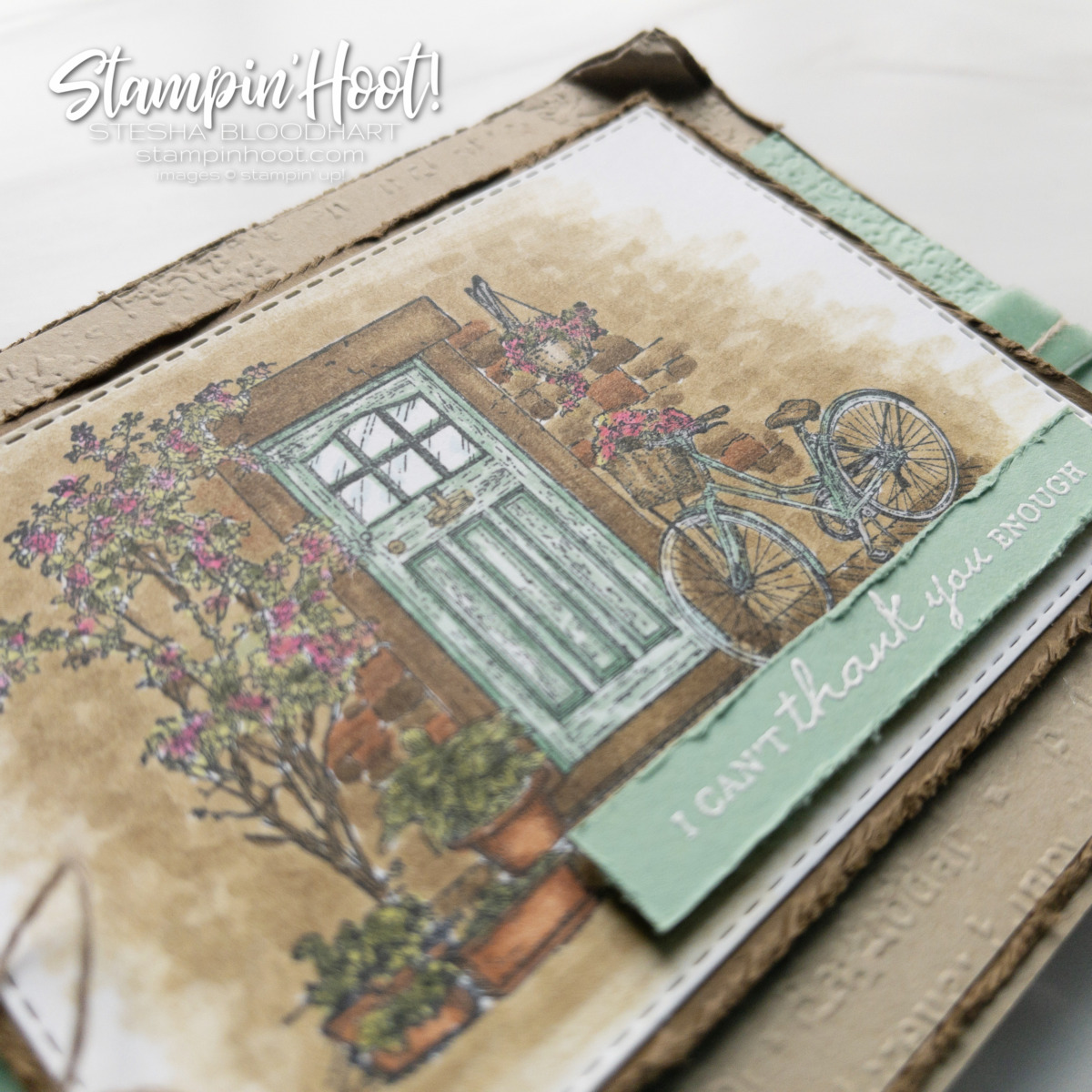 Create this card using the FREE Feels Like Home Stamp Set and Stampin' Blends Markers - Card by Stesha Bloodhart Stampin' Hoot! #gdp307