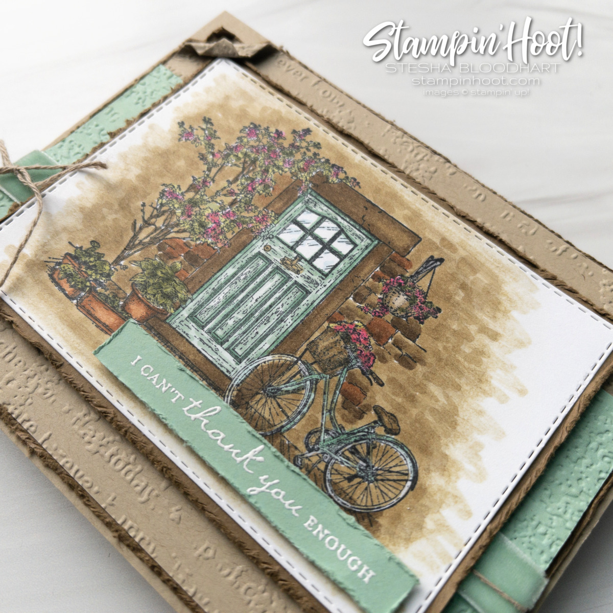 Create this card using the FREE Feels Like Home Stamp Set and Stampin' Blends Markers Card by Stesha Bloodhart Stampin' Hoot!