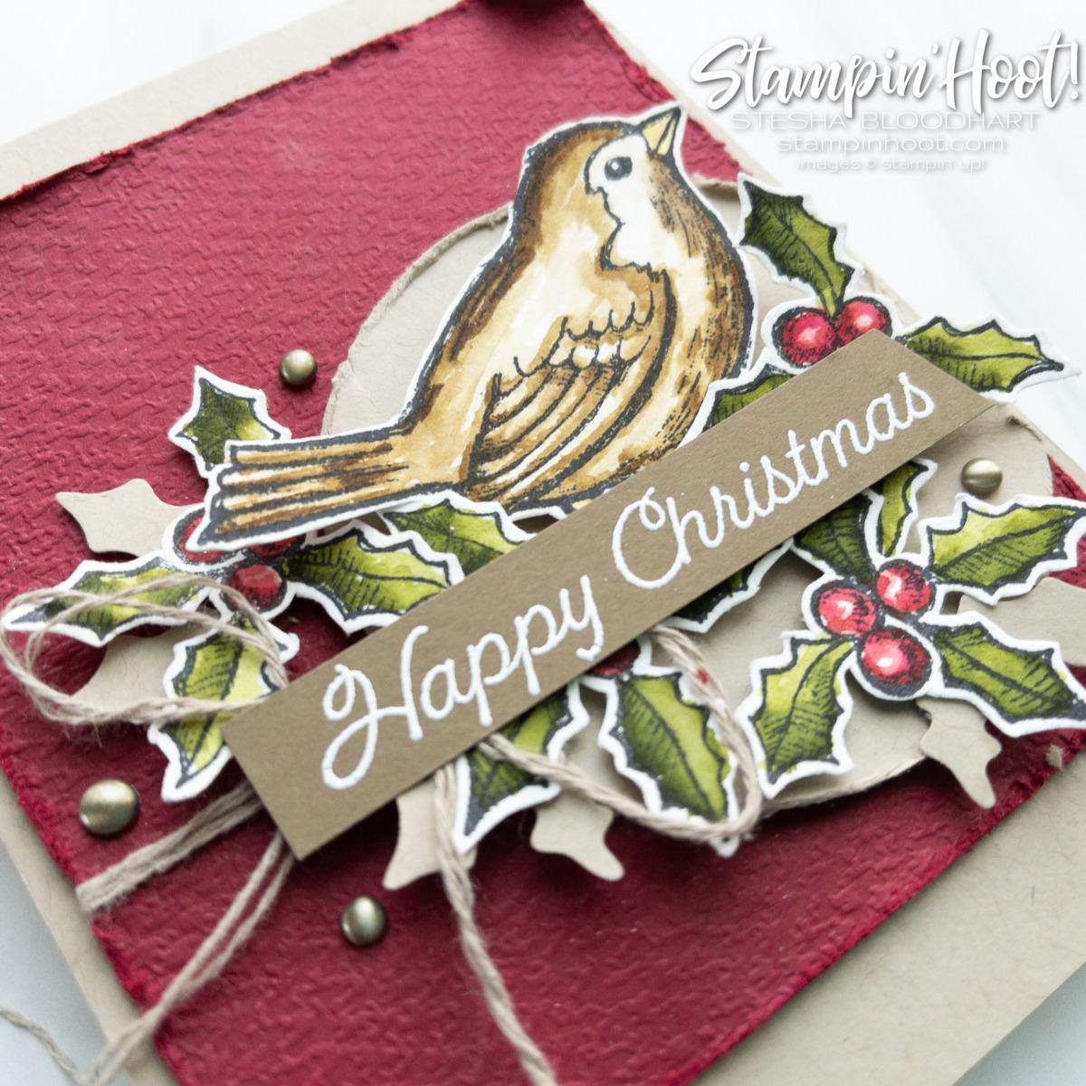 Create this card using the Happy Holly-Days Bundle from Stampin' Up! Card by Stesha Bloodhart Stampin' Hoot #tgifc329 Sketch Crumb Cake