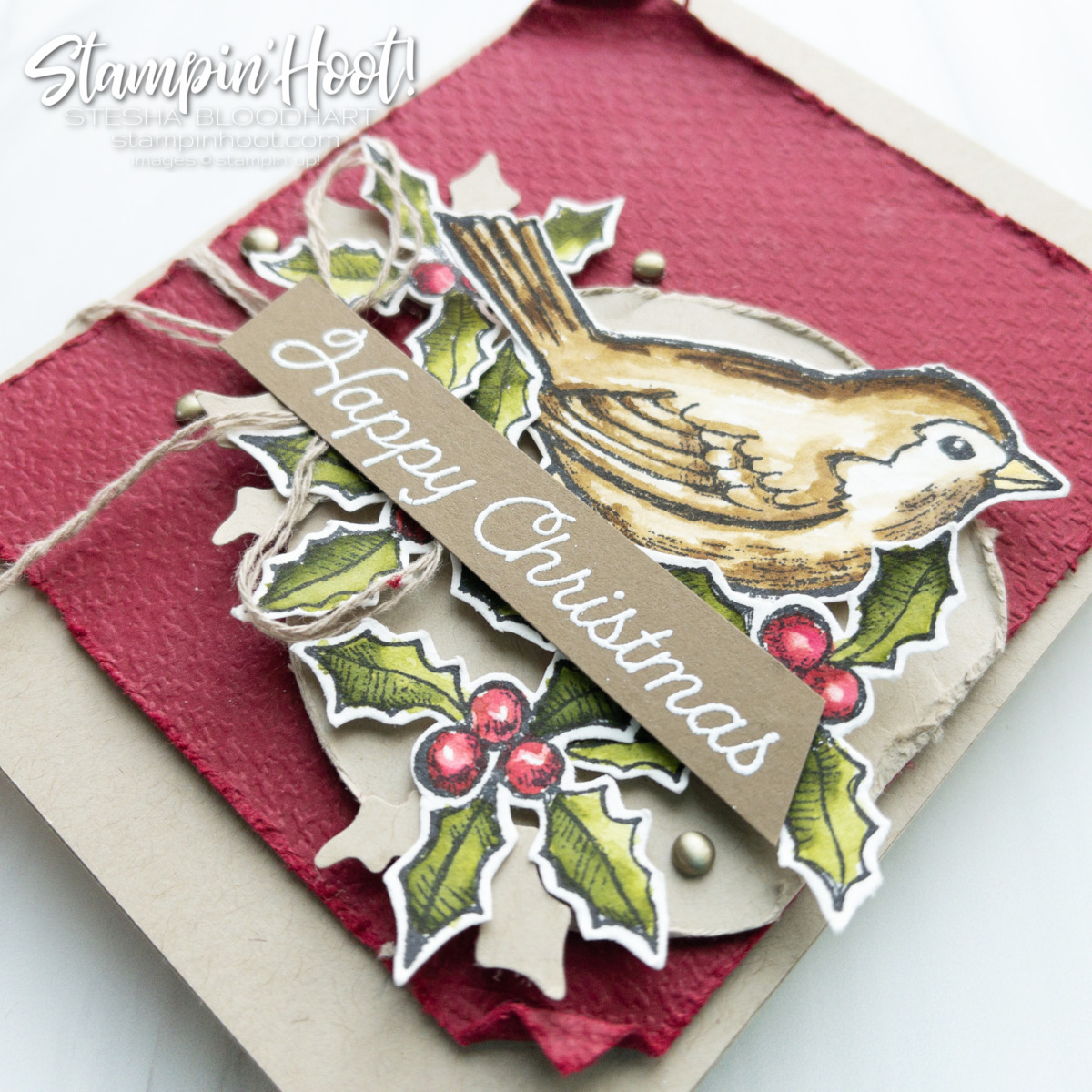 Create this card using the Happy Holly-Days Bundle from Stampin' Up! Card by Stesha Bloodhart Stampin' Hoot #tgifc329 Sketch Happy Christmas