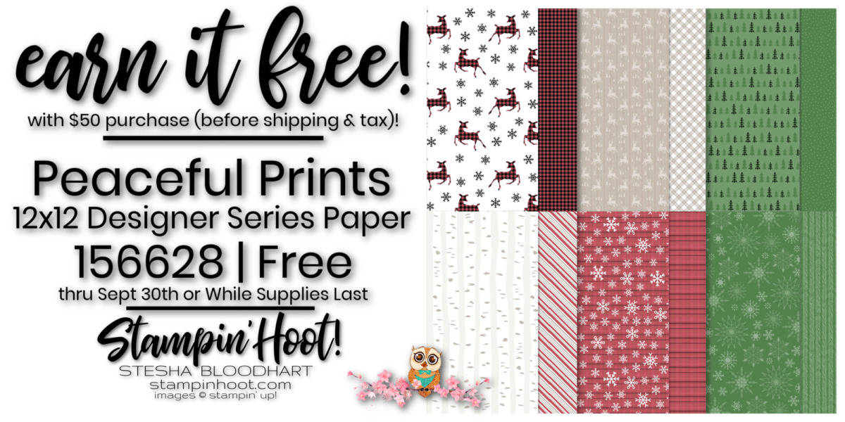 Peaceful Prints DSP - Page 8 -156628 Free by Stampin' Up! Order Online with Stesha Bloodhart, Stampin' Hoot!