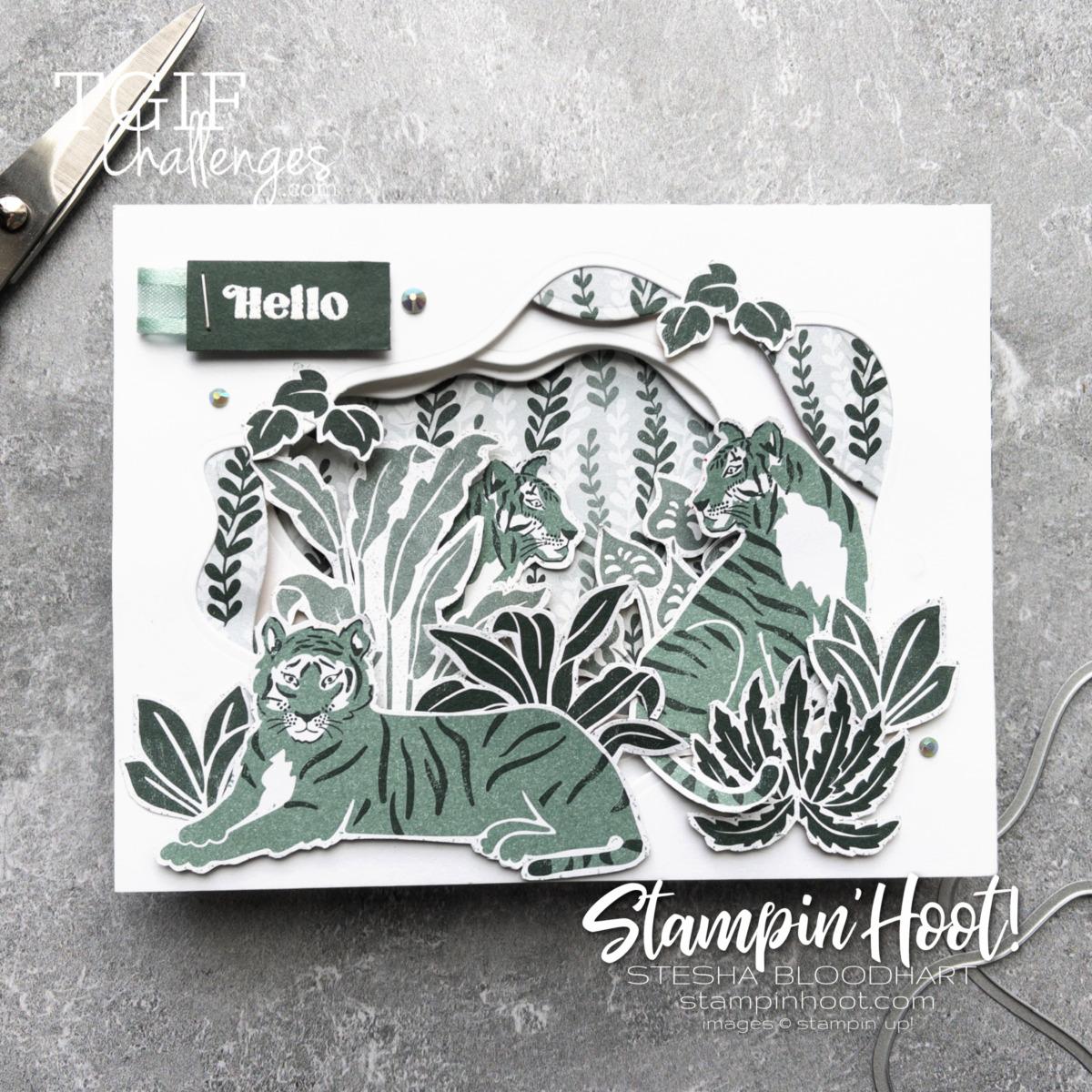 Wild Cats Hello Card Stesha Bloodhart. Stampin' Hoot! (1)