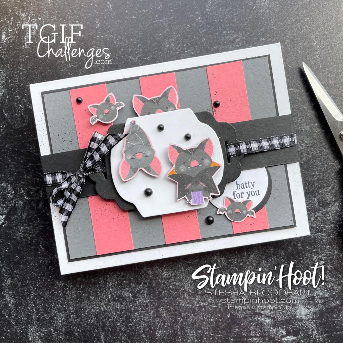 Batty For You Flamingo, Basic Gray and Basic Black Card for #tgifc333 Sketch Challenge Stesha Bloodhart