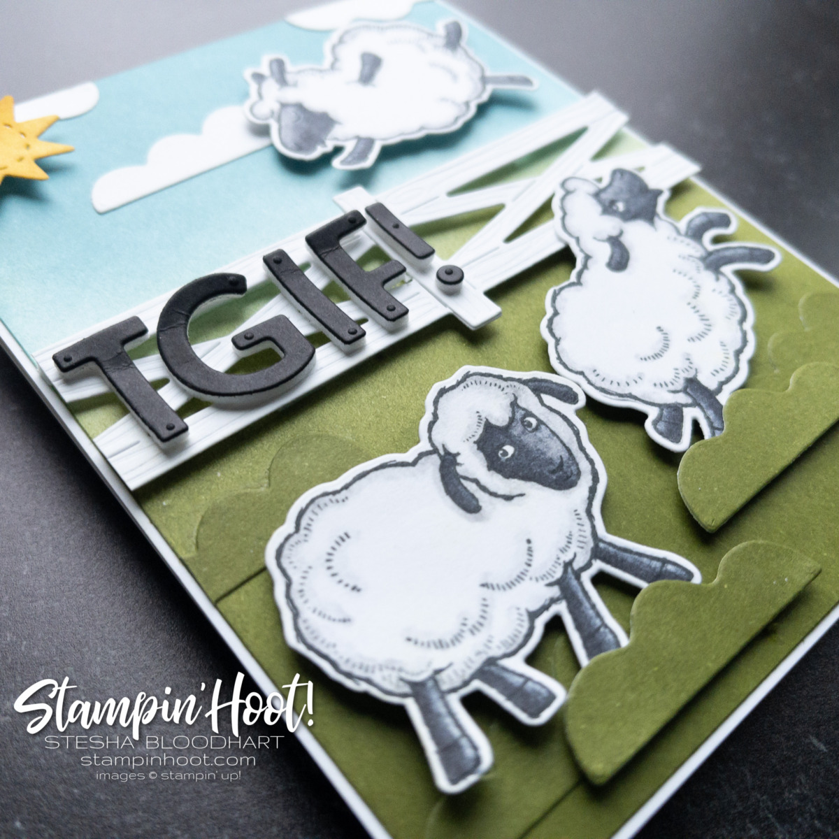 Card created with FREE Counting Sheep Stamp Set and Sheep Dies from Stampin' Up! Card by Stesha Bloodhart, Stampin' Hoot for GDP308