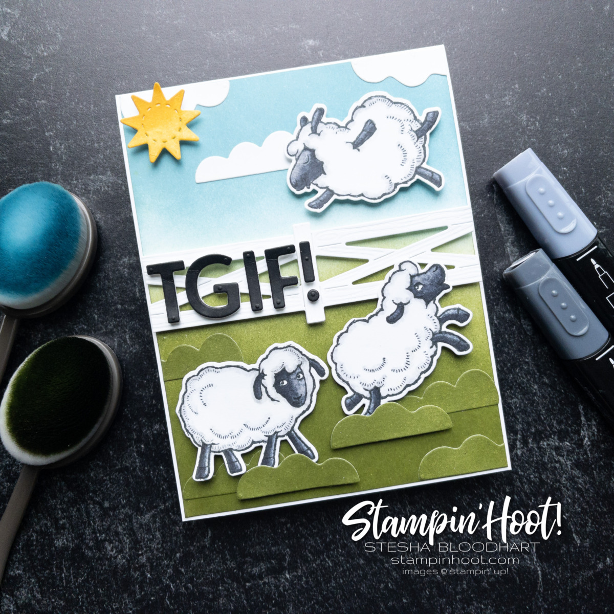 Create this card with the Counting Sheep Stamp Set and Sheep Dies from Stampin' Up! Earn them FREE. Stesha Bloodhart, Stampin' Hoot!