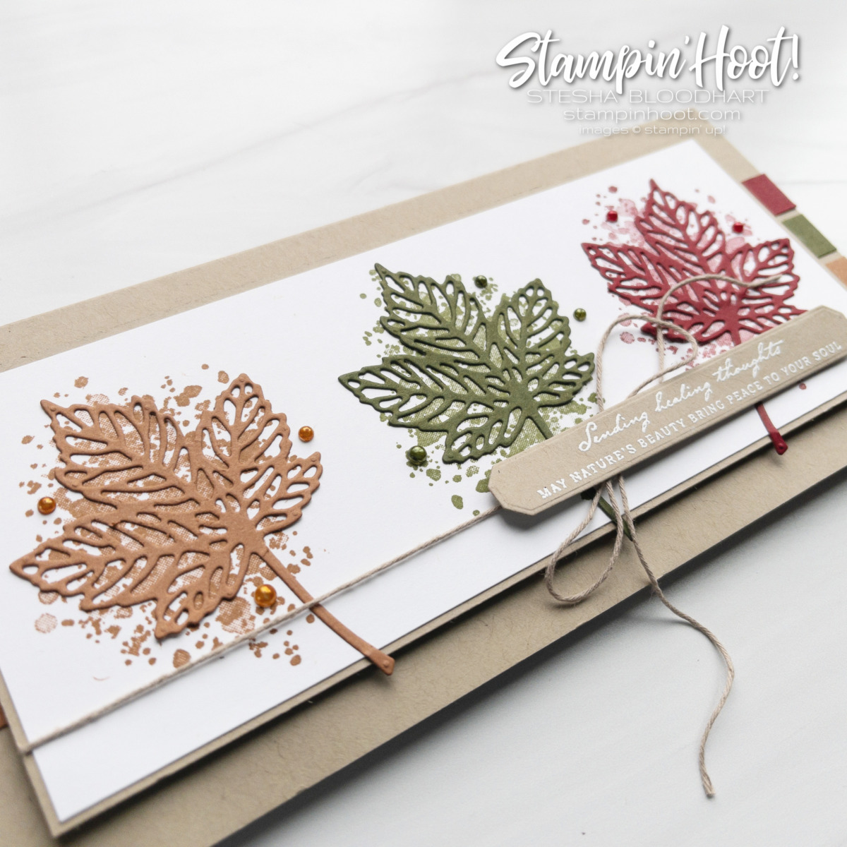 Create this fall-themed slimline card using the Gorgeous Leaves Bundle by Stampin' Up! Card by Stesha Bloodhart, Stampin' Hoot!