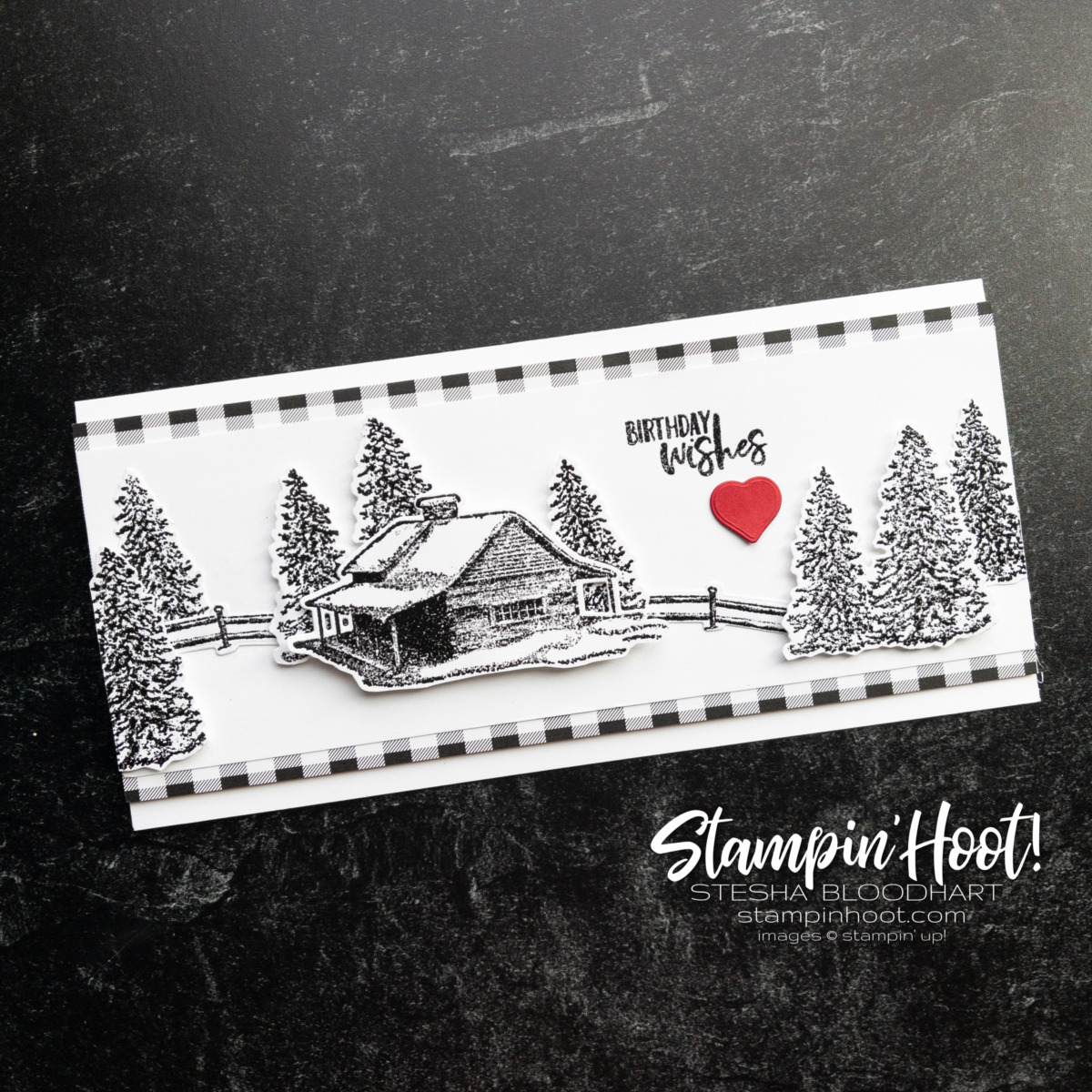 Create this slimline birthday card using the Peaceful Cabin Bundle from Stampin' Up! Card by Stesha Bloodhart, Stampin' Hoot!