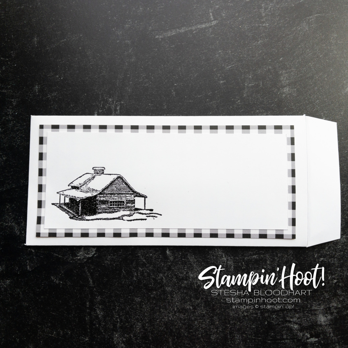 Create this slimline envelope using the Peaceful Cabin Bundle from Stampin' Up! Card by Stesha Bloodhart, Stampin' Hoot!
