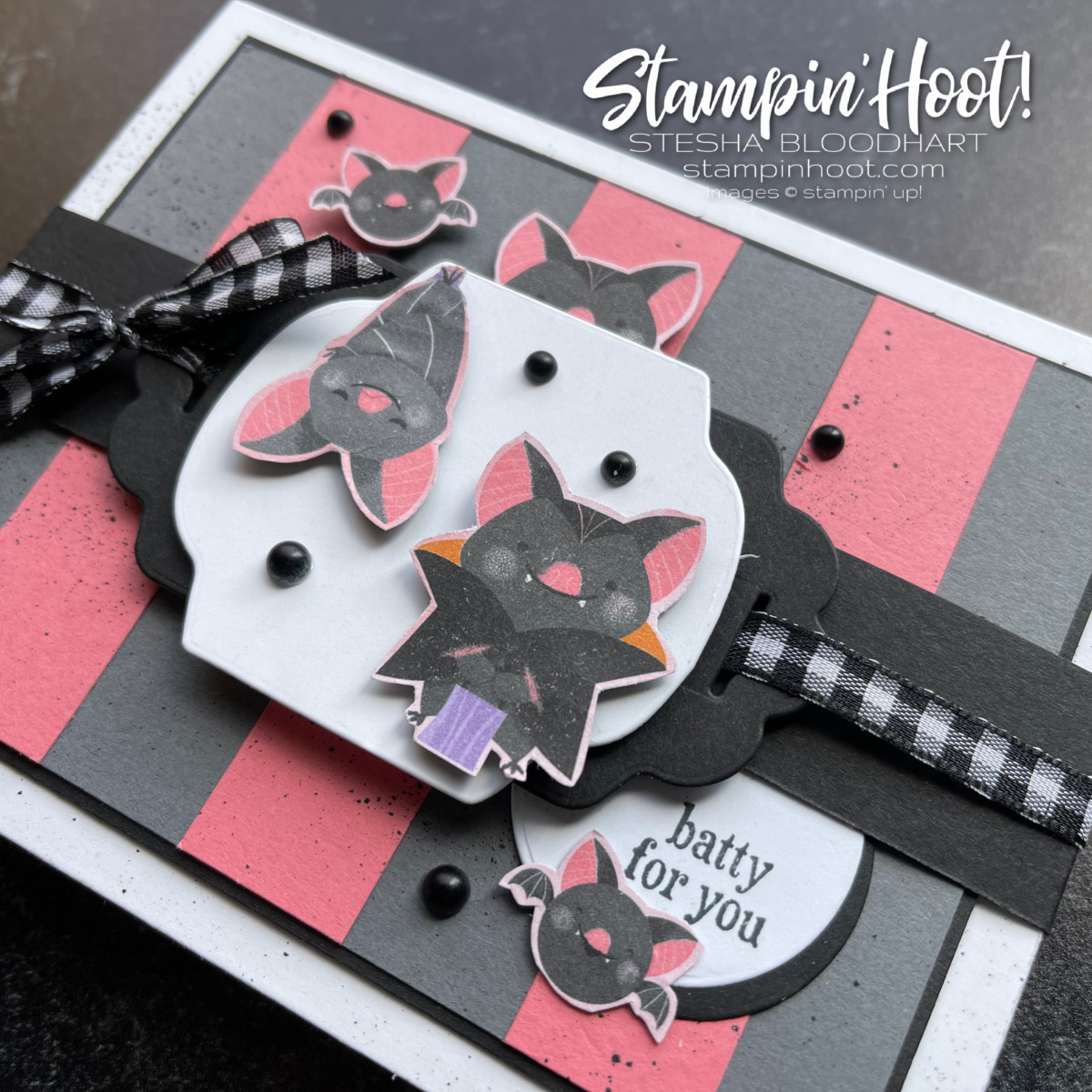 Frightfully Cute Bundle and Cute Halloween DSP by Stampin' Up! Batty for You Card by Stesha Bloodhart, Stampin' Hoot!