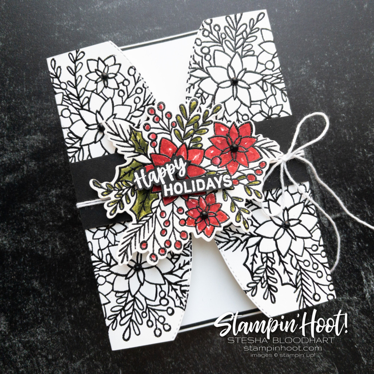 Happy Holidays Card using the Words of Cheer Bundle from Stampin' Up! Card by Stesha Bloodhart. Stampin' Hoot!