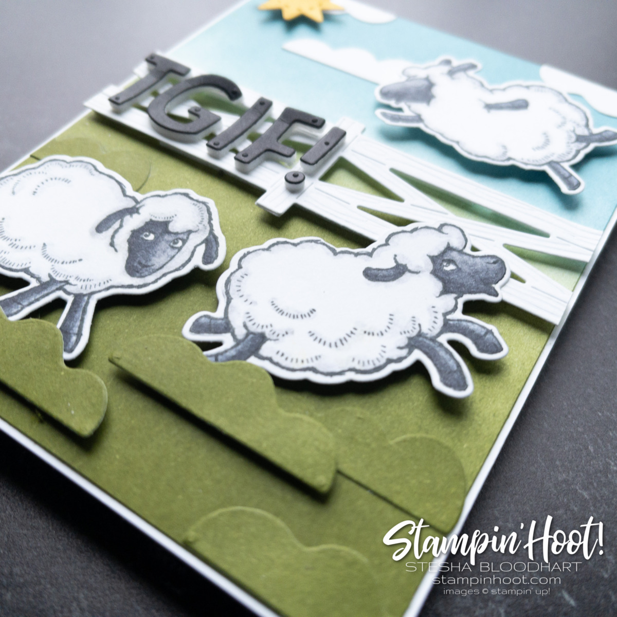Super cute TGIF Sheep Card by Stesha Bloodhart for GDP Case the Designer Challenge