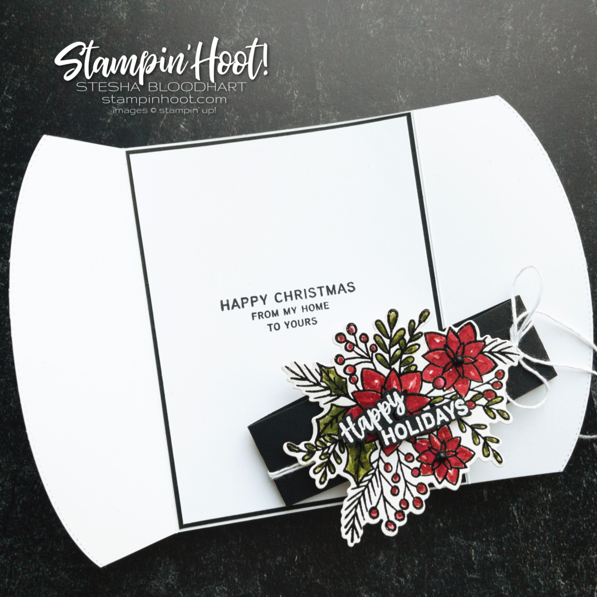 Words of Cheer Bundle from Stampin' Up! Fun Gatefold card using Basic Borders Dies by Stesha Bloodhart, Stampin' Hoot!