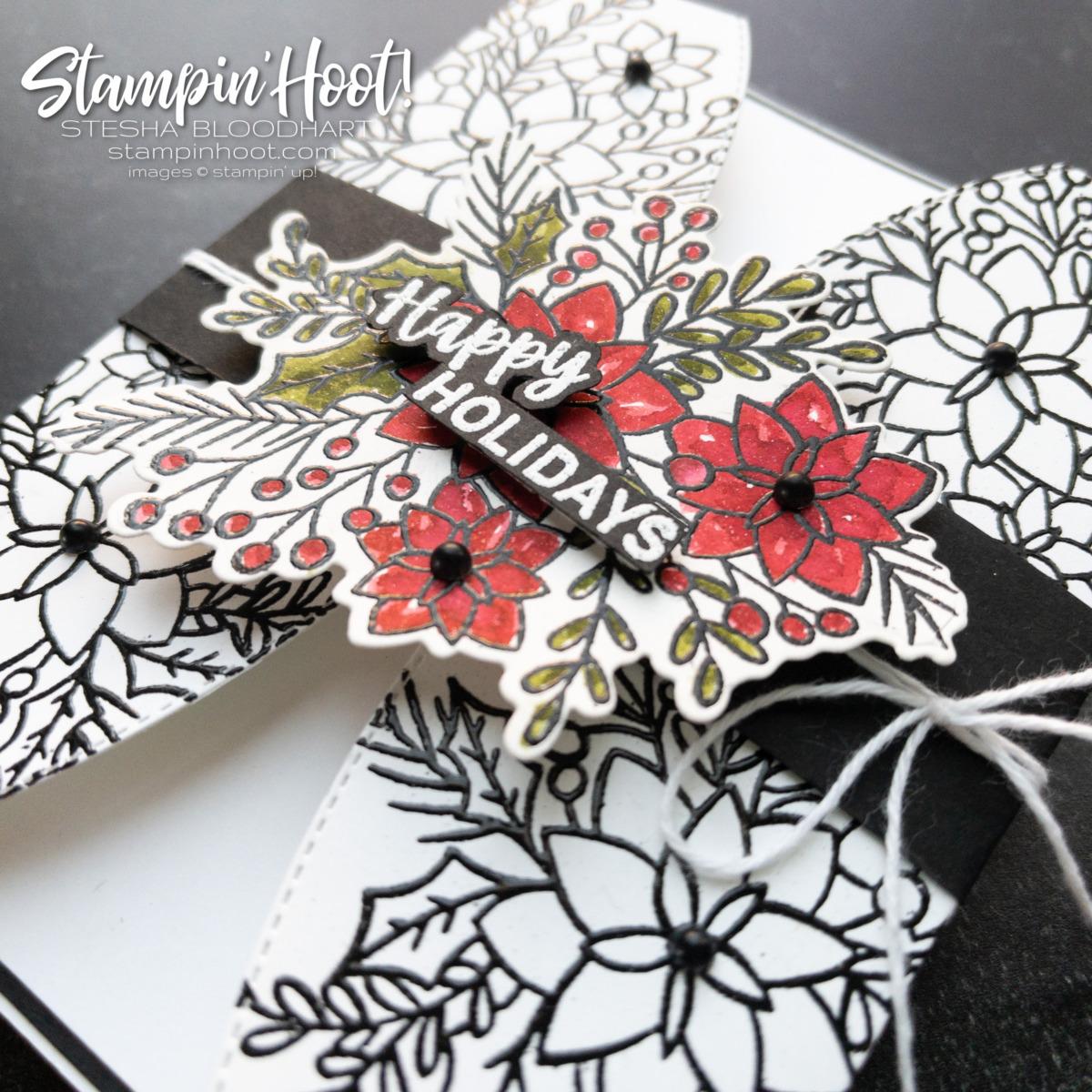 Words of Cheer Happy Holidays Gatefold Card - Stesha Bloodhart, Stampin' Hoot!