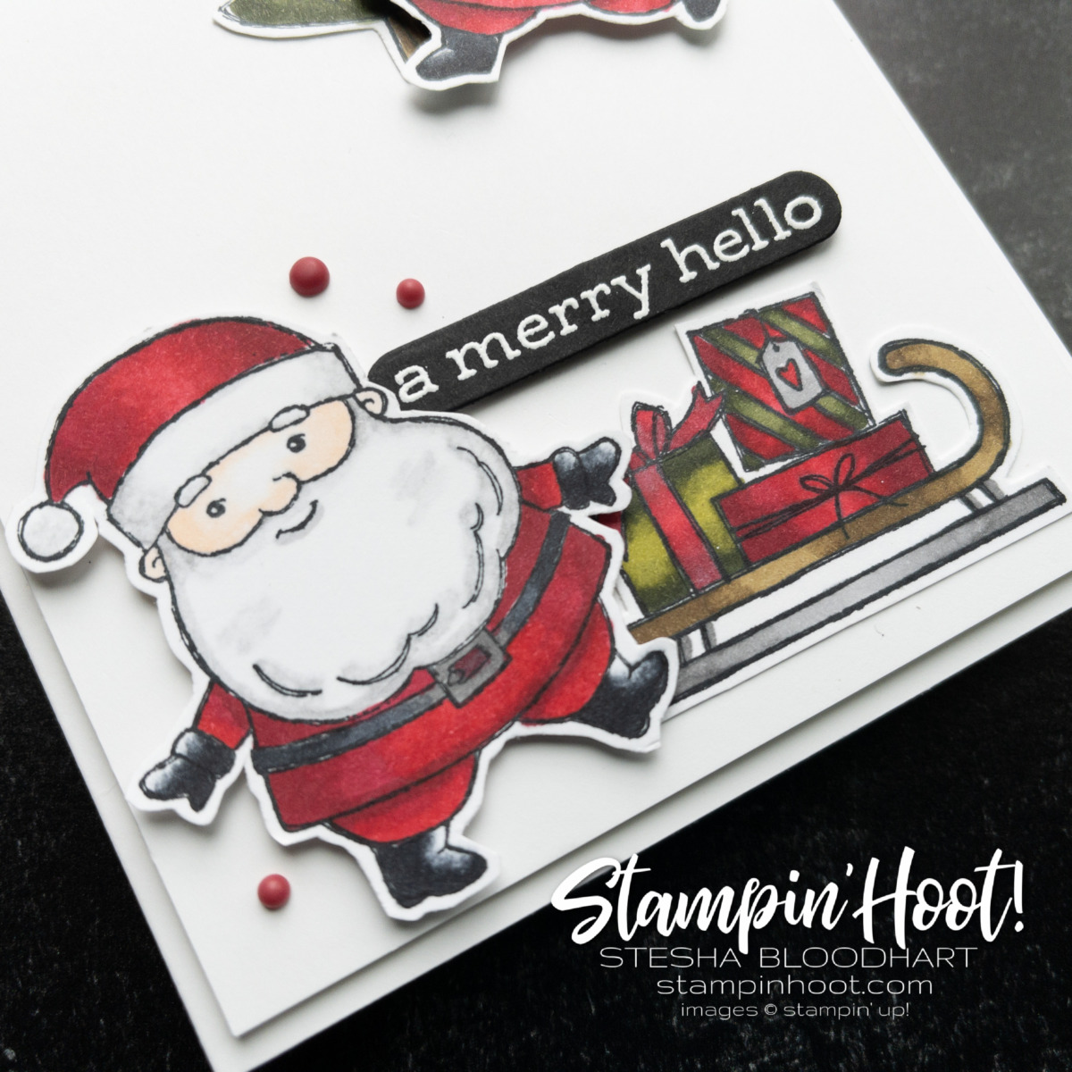 Create this Santa card using the Be Jolly Stamp Set, Stampin' Blends from Stampin' Up! Card by Stesha Bloodhart, Stampin' Hoot! #GDP312