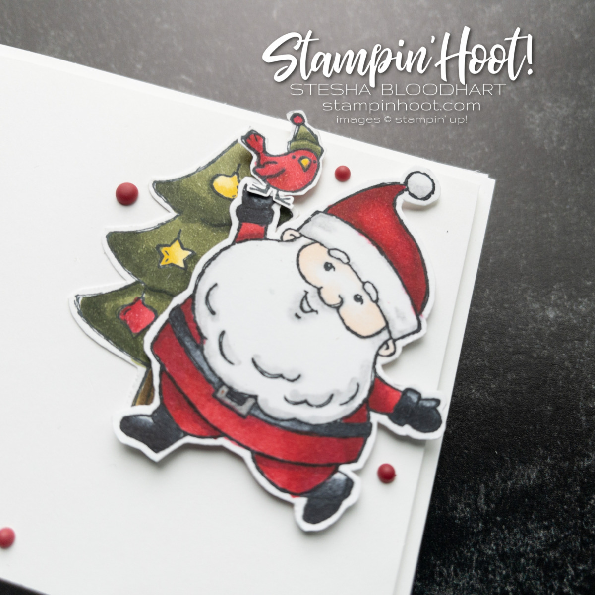Create this Santa card using the Be Jolly Stamp Set and Stampin' Blends from Stampin' Up! Card by Stesha Bloodhart Stampin' Hoot! #GDP312