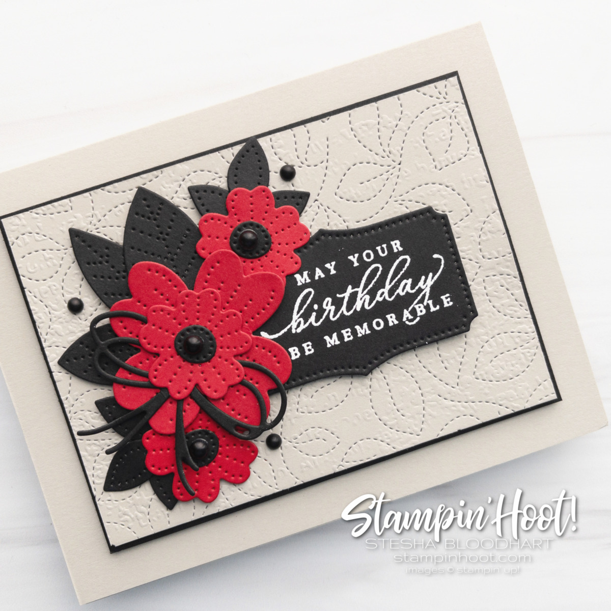 GDP313 Color Challenge - Real Red, Basic Black, Sahara Sand - Stesha Bloodhart, Stampin' Hoot!  Pierced Blooms by Stampin' Up!